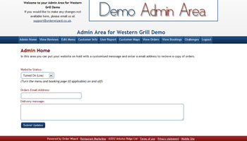 Restaurant Marketing Demo Admin Area