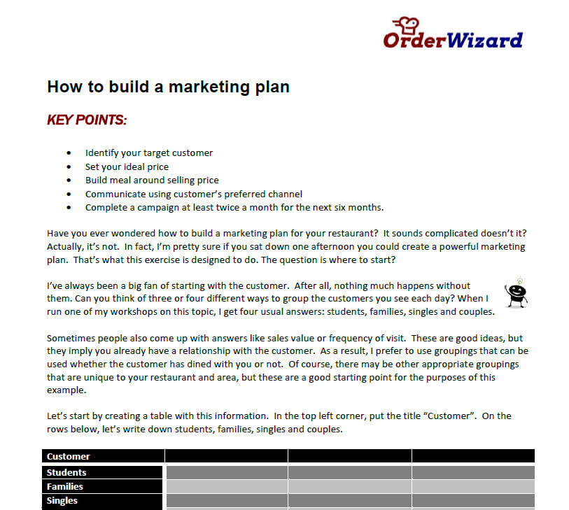 How to build a Marketing Plan from Order Wizard