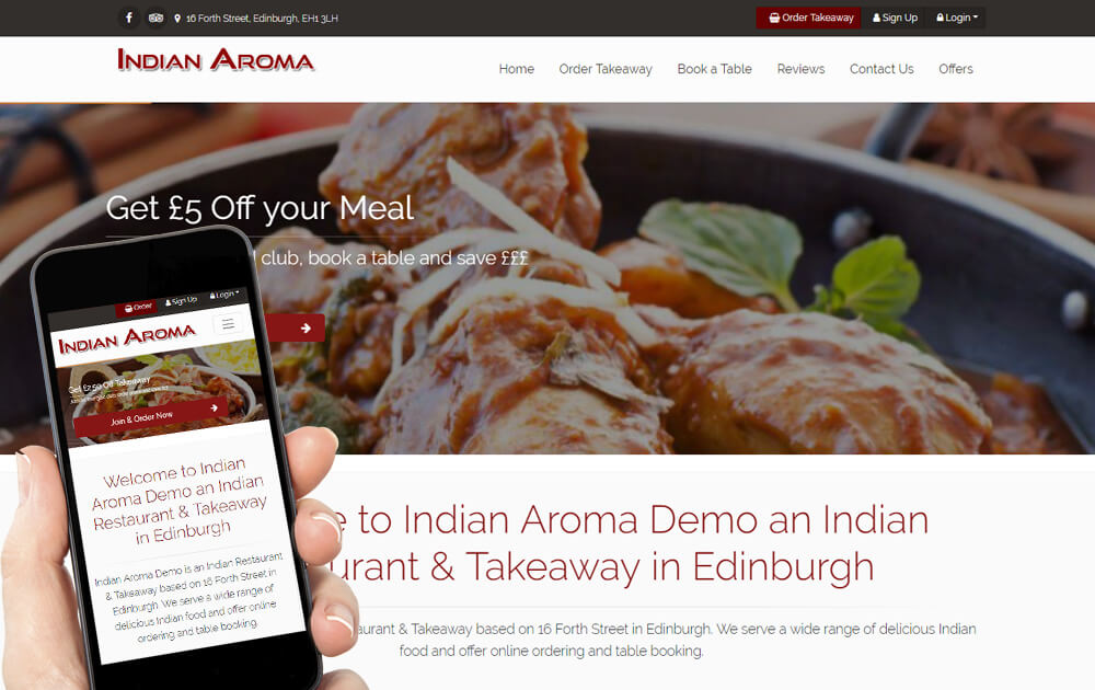 Our restaurant websites work on both desktop and mobile devices, and are very fast